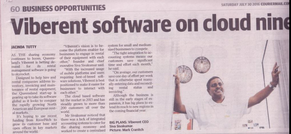 Viberent Article in Courier Mail
